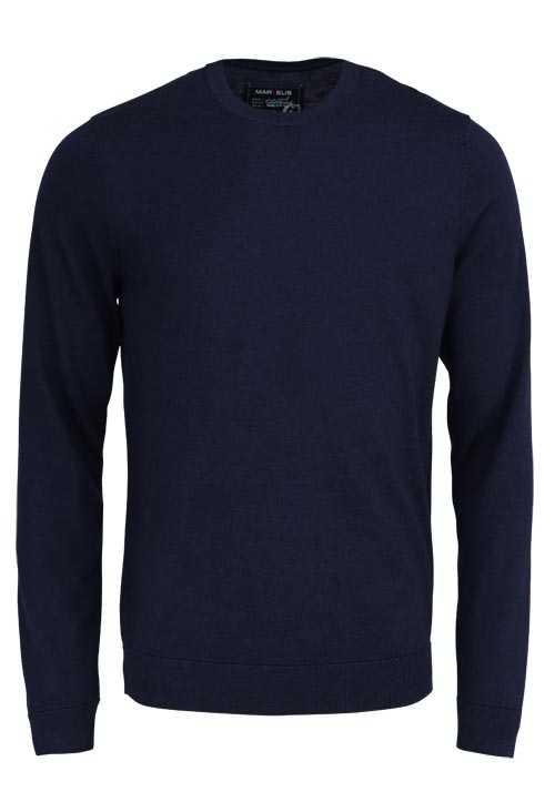 MARVELIS Pullover Langarm Rundhals aus Merino Wolle nachtblau