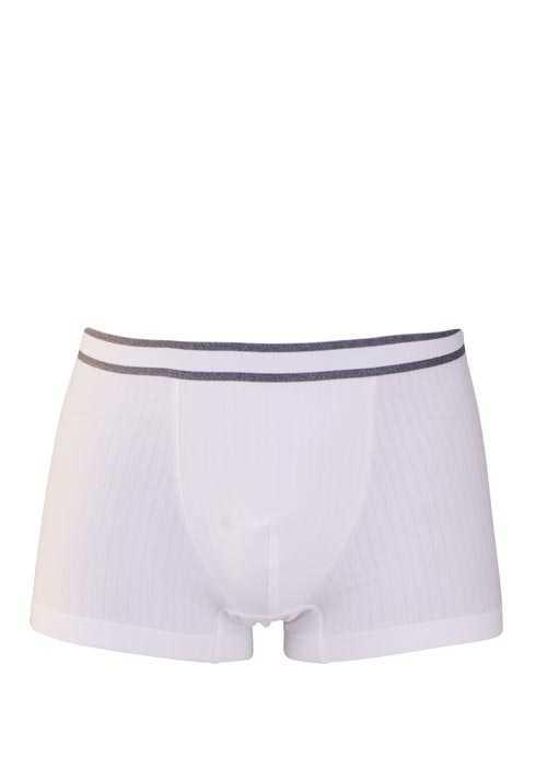 MEY Shorts gestreifter Webgummibund Cotton Stretch weiß