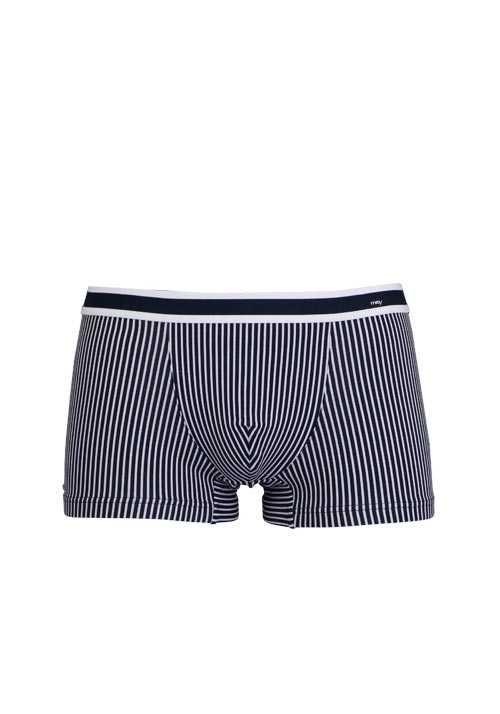 MEY Shorts Webgummibund gestreift Baumwollmischung blau