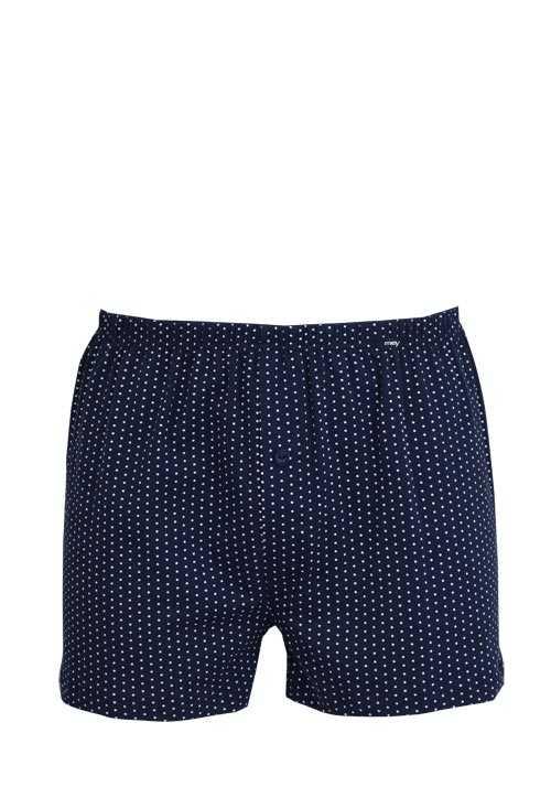 MEY Boxer Short gepunktet Webgummibund Baumwollmischung blau