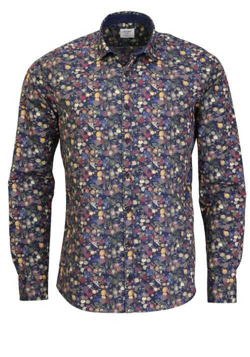 OLYMP Level Five Casual body fit Hemd Langarm Muster blau