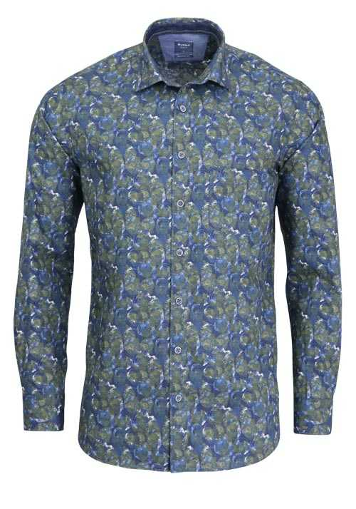 OLYMP Casual modern fit Hemd Langarm Haifischkragen Muster blau