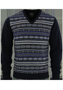 OTTO KERN Pullover V-Ausschnitt Muster dunkelblau 30079/43065/300