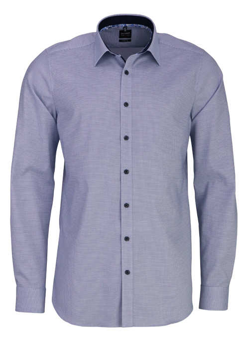 OLYMP Level Five body fit Hemd extra langer Arm Karo dunkelblau