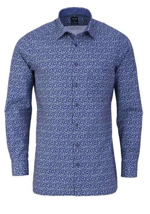 OLYMP Luxor modern fit Hemd extra langer Arm Muster blau