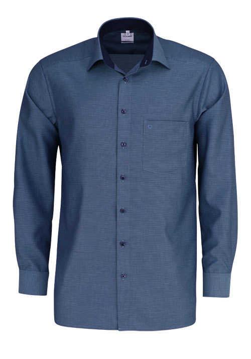 OLYMP Luxor comfort fit Hemd Langarm New Kent Kragen Muster grün