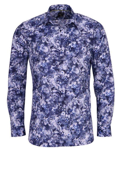 OLYMP No. Six super slim Hemd extra langer Arm Muster blau