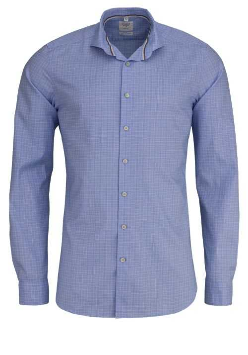OLYMP Level Five Smart Business body fit Hemd extra l. Arm Karo blau