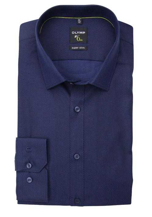 OLYMP No. Six super slim Hemd extra langer Arm Muster navy