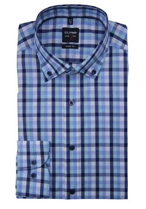 OLYMP Level Five body fit Hemd Langarm Button Down Kragen Karo blau