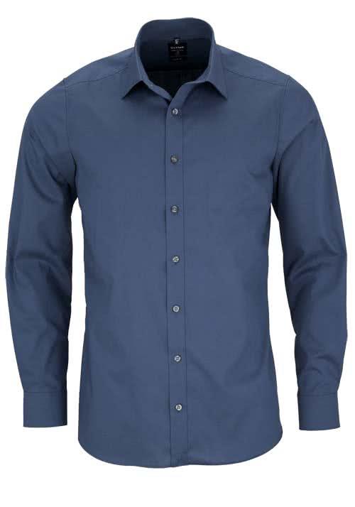 OLYMP Level Five body fit Hemd Langarm New Kent Stretch rauchblau