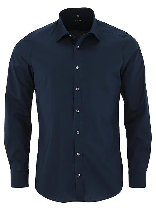 OLYMP Level Five body Fit Hemd Langarm Stretch nachtblau