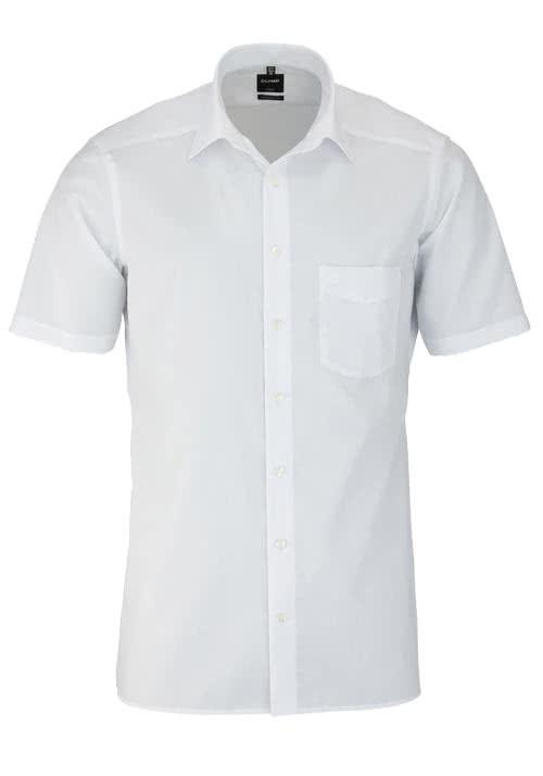 OLYMP Luxor modern fit Hemd Halbarm mit New Kent Kragen Popeline weiß