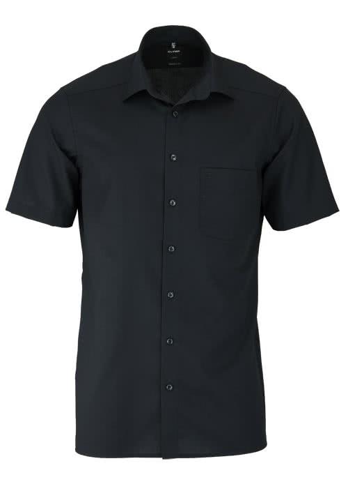 OLYMP Luxor modern fit Hemd Halbarm New Kent Kragern Popeline schwarz
