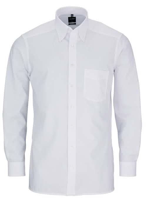 OLYMP Luxor modern fit Hemd Langarm Button Down Kragen Popeline weiß