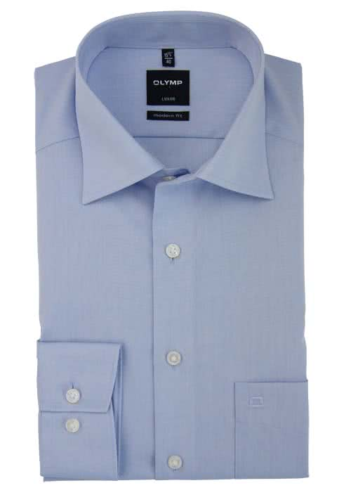OLYMP Luxor modern fit Hemd extra langer Arm Chambray hellblau