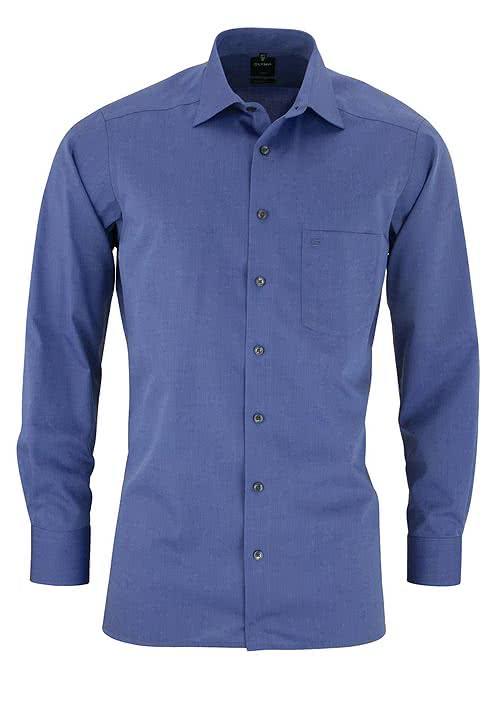 OLYMP Luxor modern fit Hemd Langarm New Kent Kragen Chambray blau