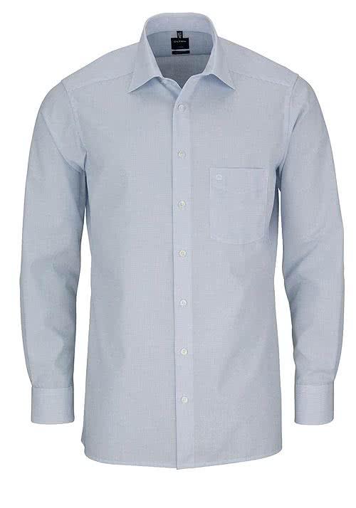 OLYMP Luxor modern fit Hemd extra langer Arm Gitterkaro hellblau