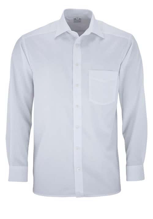 OLYMP Luxor comfort fit Hemd Langarm mit New Kent Popeline weiß