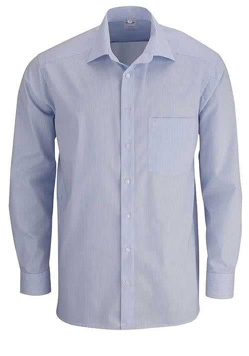 OLYMP Luxor comfort fit Hemd Langarm New Kent Kragen Streifen hellblau