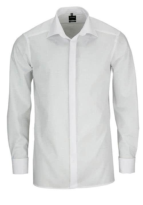 OLYMP Luxor modern fit Galahemd extra langer Arm weiß