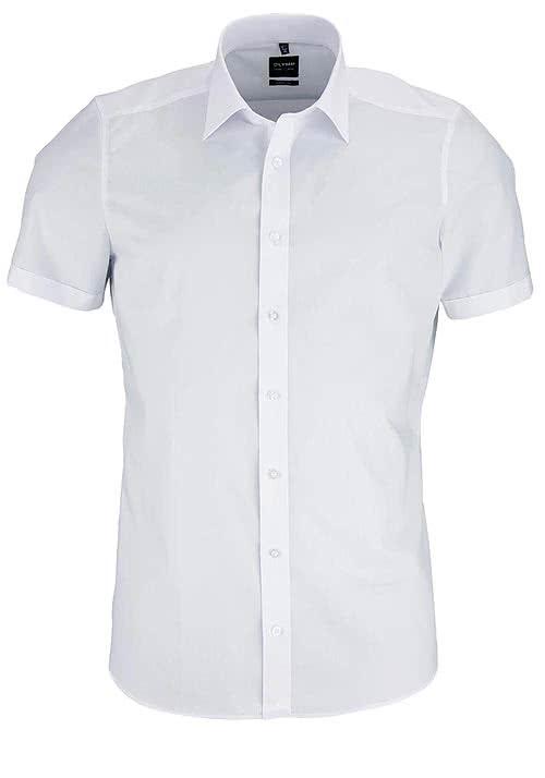 OLYMP Level Five body fit Hemd Halbarm Popeline Stretch weiß