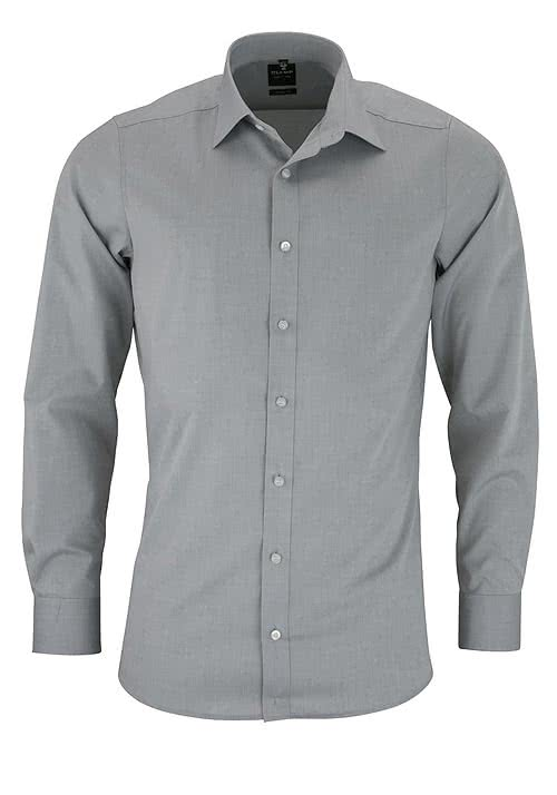 OLYMP Level Five body fit Hemd Langarm mit New Kent Kragen silber