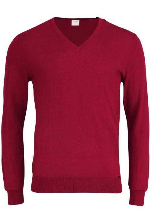 OLYMP Level Five Strick body fit Pullover V-Ausschnitt dunkelrot