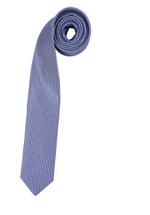 OLYMP Krawatte slim aus reiner Seide mit Nano-Effekt Muster blau
