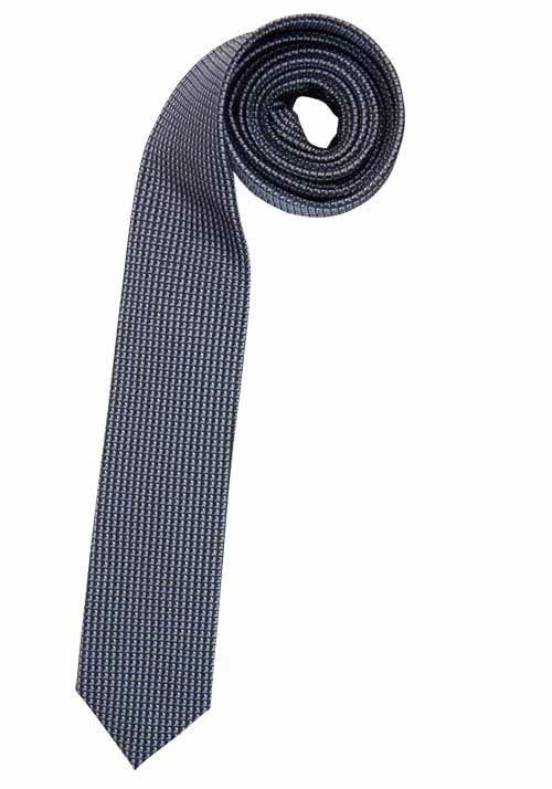 OLYMP Krawatte slim aus reiner Seide mit Nano-Effekt Muster grau