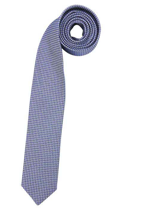 OLYMP Krawatte slim aus reiner Seide mit Nano-Effekt Muster dunkelblau