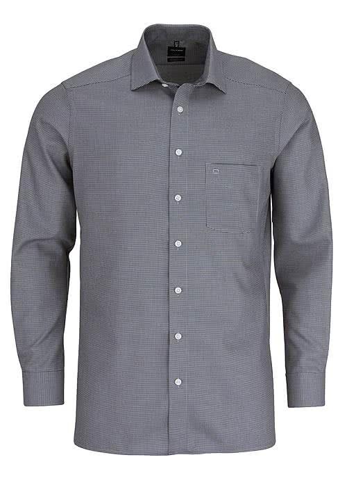 OLYMP Luoxr modern fit Hemd extra langer Arm Muster schwarz