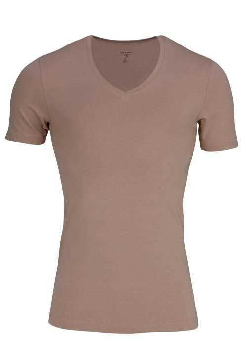 OLYMP T-Shirt Level Five body fit V-Ausschnitt beige