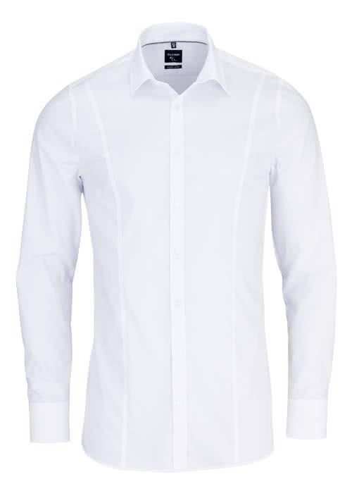 OLYMP No. Six super slim Hemd Stretch Langarm Uni weiß