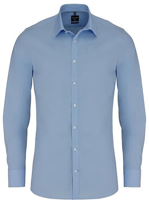 OLYMP No. Six super slim Hemd Langarm New Kent Kragen hellblau