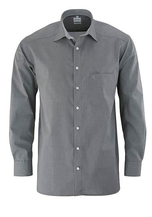 OLYMP Luxor comfort fit Hemd Langarm mit New Kent Kragen Karo schwarz