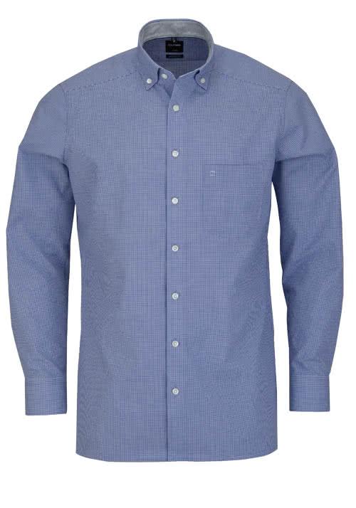 OLYMP Luxor modern fit Hemd Langarm Button Down Kragen Karo blau