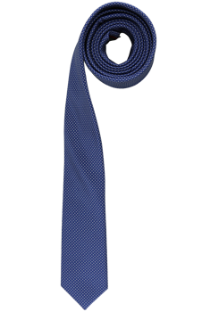 OLYMP Krawatte super slim aus reiner Seide mit Nano-Effekt Punkte blau