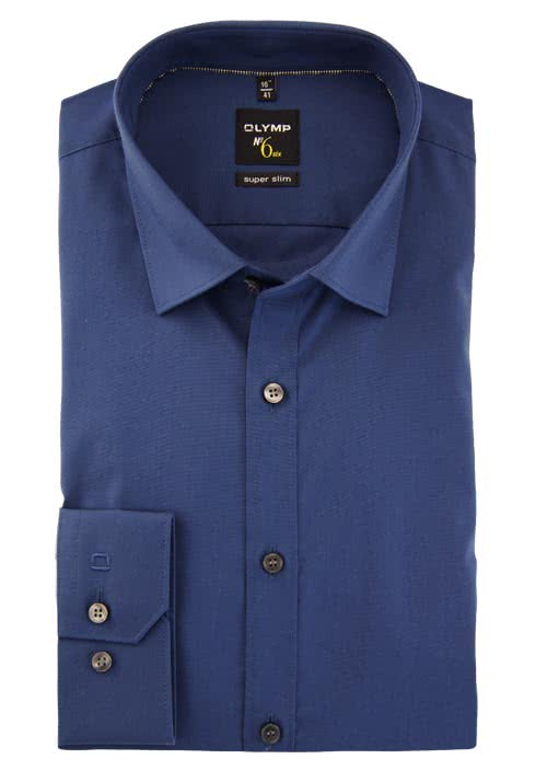 OLYMP No. Six super slim Hemd Langarm Under-Button-Down rauchblau