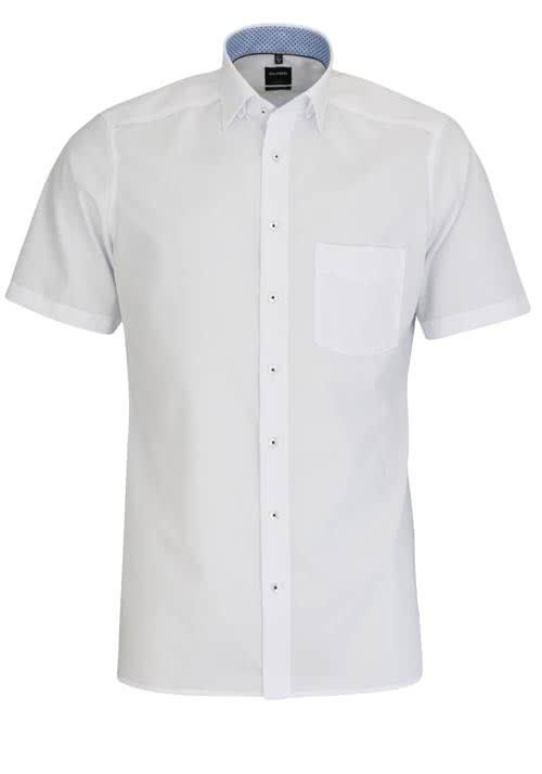OLYMP Luxor modern fit Hemd Halbarm Under Button Down Kragen weiß
