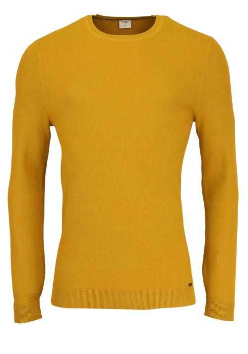OLYMP Level Five Strick body fit Pullover Rundhals senfgelb