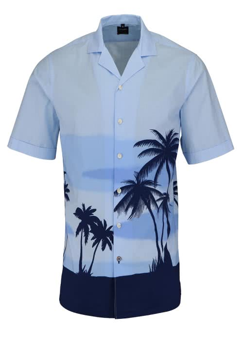 OLYMP Casual Hemd Halbarm mit Reverskragen mit Druck blau