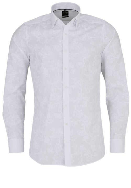 OLYMP Level Five body fit Hemd Langarm Haifischkragen Muster weiß