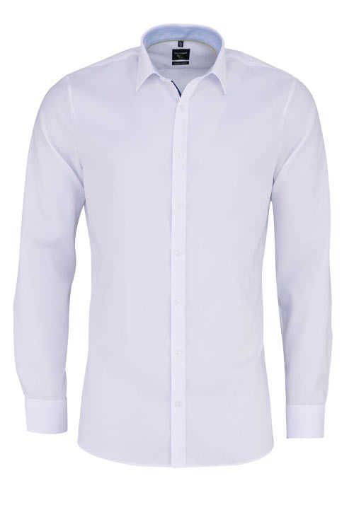 OLYMP No. Six super slim Hemd extra langer Arm Struktur weiß