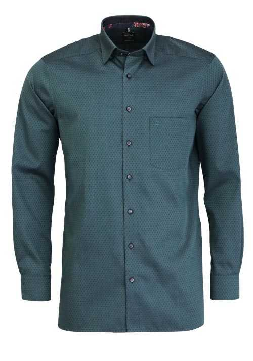 OLYMP Luxor modern fit Hemd extra langer Arm Muster dunkelgrün