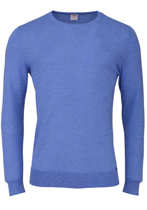 OLYMP Level Five Strick body fit Pullover Rundhals blau