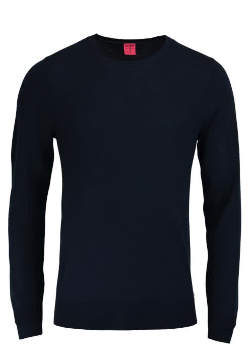OLYMP Level Five Strick body fit Pullover Rundhals schwarz