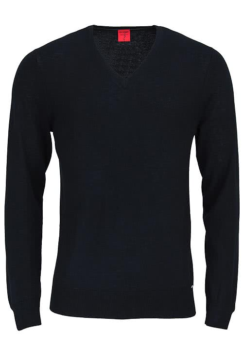 OLYMP Level Five Strick body fit Pullover V-Ausschnitt schwarz
