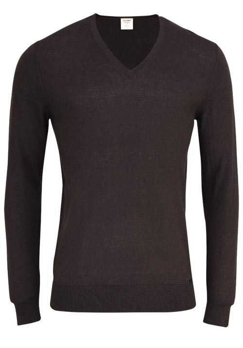 OLYMP Level Five Strick body fit Pullover V-Ausschnitt schwarzbraun