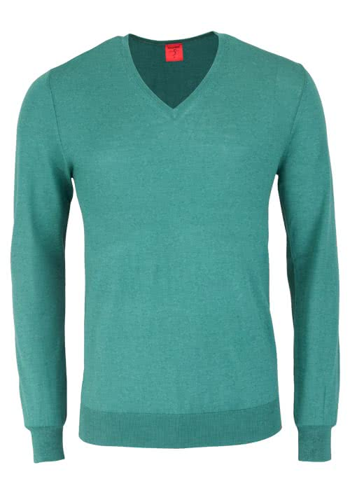 OLYMP Level Five Strick body fit Pullover V-Ausschnitt türkis
